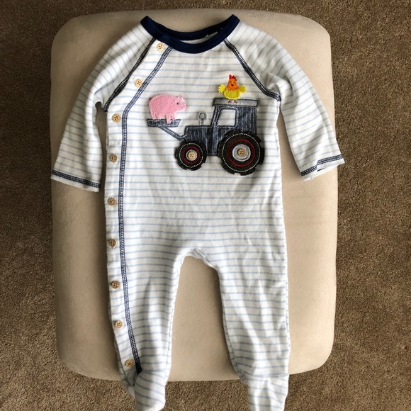 Blue stripped tractor appliqué footed sleeper